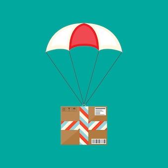 Servizio di consegna, spedizione aerea. paracadute con scatola