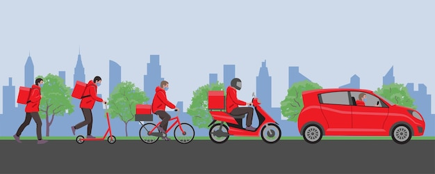 Banner del servizio di consegna online per il monitoraggio della consegna a casa e in ufficio in città