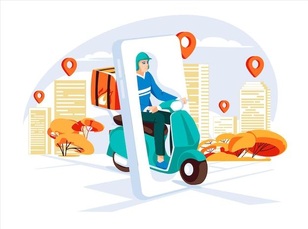 Concetto di servizio di consegna in scooter con corriere strada della città di grandi smartphone con punti mappa