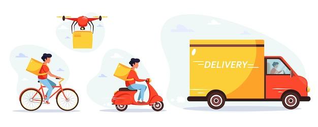 Concetto di servizio di consegna tramite corriere camion, drone, scooter e biciclette. in stile piatto.