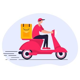 Concetto di servizio di consegna. carattere del corriere che guida in scooter.