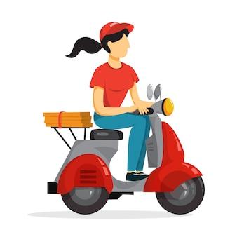 Concetto di servizio di consegna. corriere con pizza sul ciclomotore