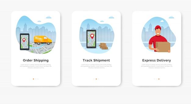 Concetto di servizio di consegna, smartphone con mappa per tracciabilità della spedizione, fattorino e furgone