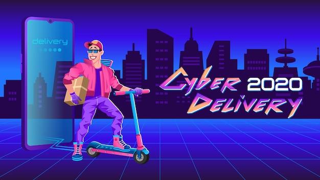 Servizio di consegna. corriere cool con scatola di consegna su scooter. grande smartphone. città futuristica
