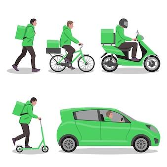 Il servizio di consegna o il servizio di corriere imposta diversi tipi di cibo a domicilio