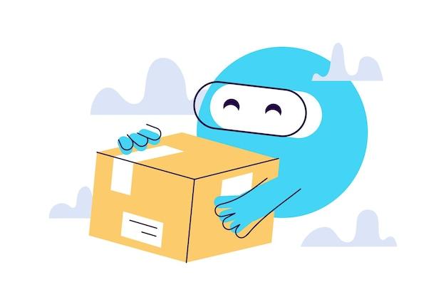 Servizio di consegna simpatico robot in possesso di una scatola di cartone nuove tecnologie