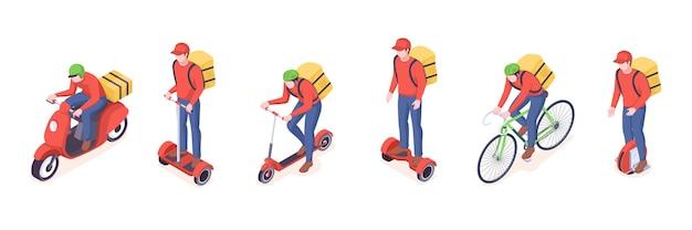 Icone isometriche di trasporto eco di servizio di consegna del servizio di consegna dell'uomo del corriere di consegna di cibo