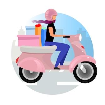 Icona di concetto piatto di servizio di consegna. corriere espresso scooter consegna adesivo ordine, clipart. donna in sella a una moto con acquisti e shopping bag. illustrazione isolata del fumetto su bianco