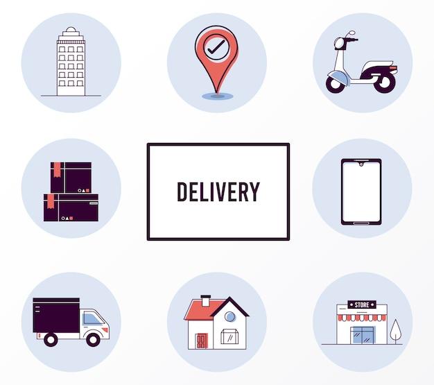 Set di icone di servizio di consegna