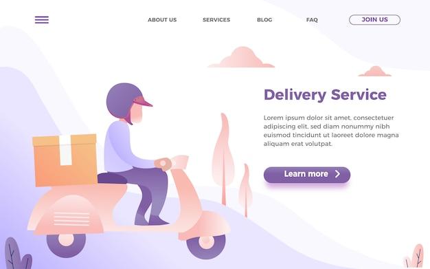Modello di pagina di destinazione del servizio di consegna con l'uomo in sella a una moto