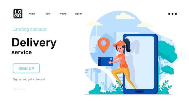 Modello di pagina di destinazione del servizio di consegna con carattere di persone