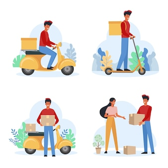 Set piatto corriere maschio servizio di consegna. fattorino che trasporta pacchi. pacchetto di ricezione donna allegra. uomo che trasporta scatole su scooter.