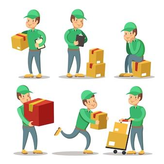 Set di caratteri del fumetto di servizio di consegna uomo. corriere con la scatola.