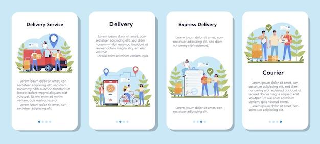 Set di banner per applicazioni mobili di servizio di consegna