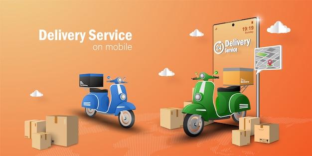 Servizio di consegna su applicazione mobile, trasporto in scooter