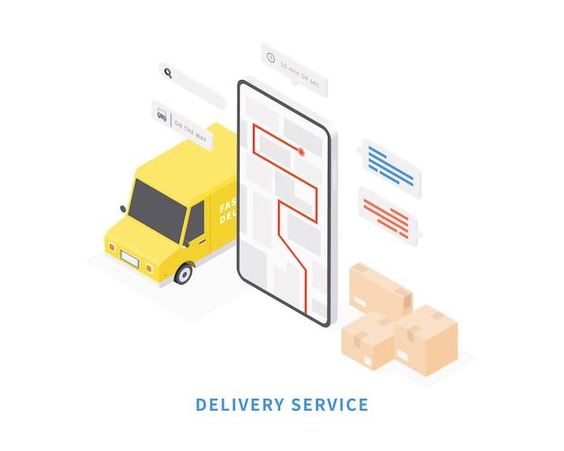 Servizio di consegna su applicazione mobile consegna del trasporto in furgone vector isometrico con smartphone mappa furgone mappa tracciamento pacchi illustrazione vettoriale Vettore Premium