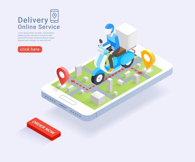Servizio di consegna online da scooter concetto isometrico