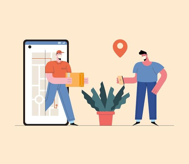 Servizio di consegna online con smartphone