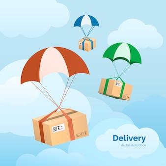 Servizio di consegna. i pacchetti volano sui paracadute. pacchi in cielo.