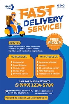 Promozione del poster del servizio di consegna in stile design piatto Vettore Premium