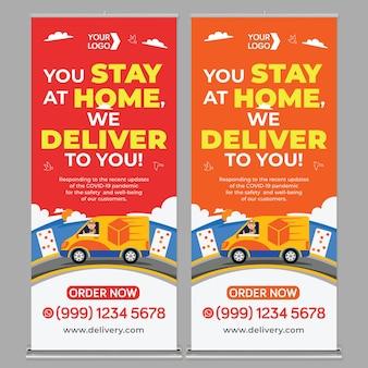 Modello di stampa banner roll up promozione servizio consegna in stile design piatto