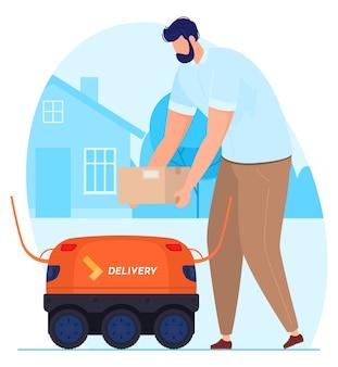 Servizio di consegna. il corriere robot consegna il messaggio all'uomo.