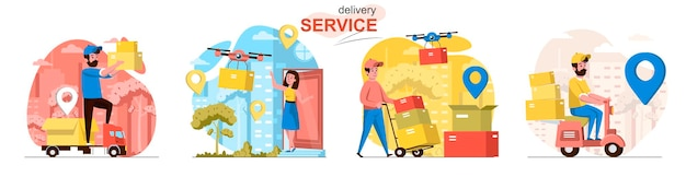 Scene del servizio di consegna ambientate in uno stile piatto