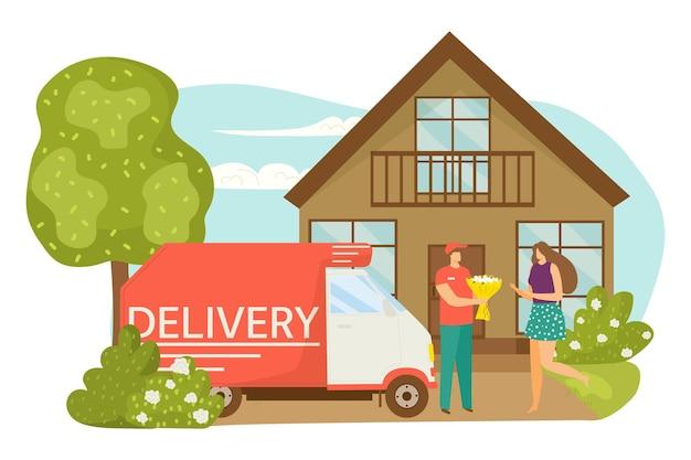 Servizio di consegna, illustrazione vettoriale. il personaggio del corriere uomo in uniforme porta fiori alla donna, bellissimo bouquet piatto presente. camion aziendale Vettore Premium