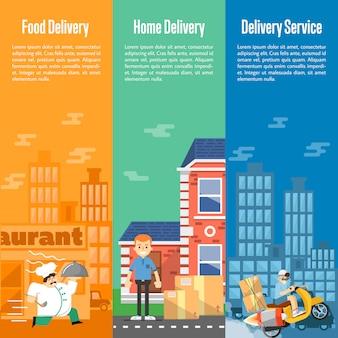 Set di banner verticali di servizio di consegna