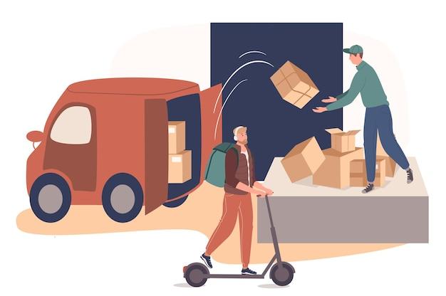 Concetto di web di servizio di consegna. operaio del servizio postale che lavora in magazzino, carico di pacchi. il corriere consegna gli ordini al cliente