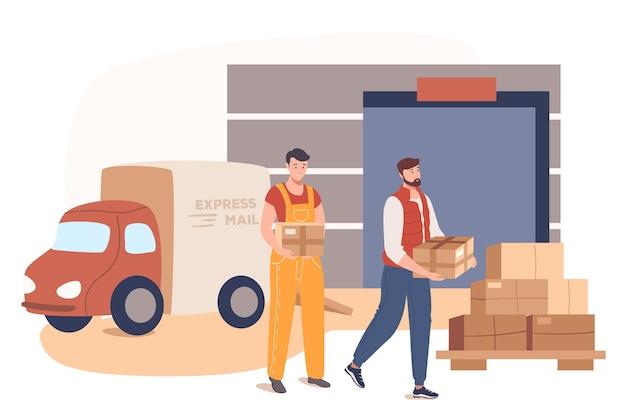 Concetto di web di servizio di consegna. lavoratori del servizio postale che lavorano in magazzino. caricatori che trasportano scatole di pacchi. posta espressa auto