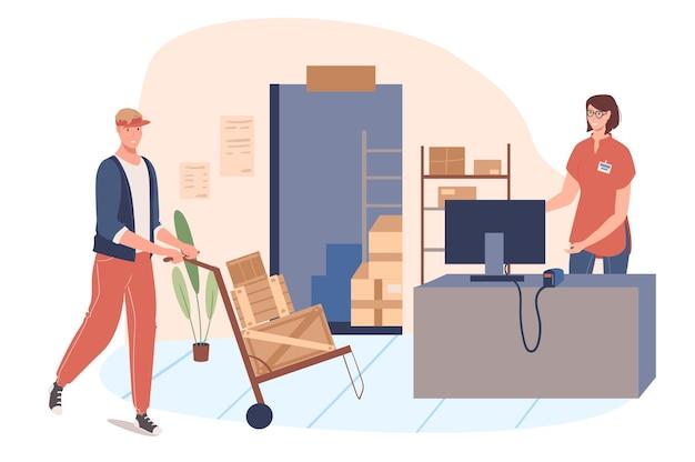 Concetto di web di servizio di consegna. donna e uomo lavorano in magazzino. il caricatore trasporta i pacchi. l'operatore elabora gli ordini sul computer