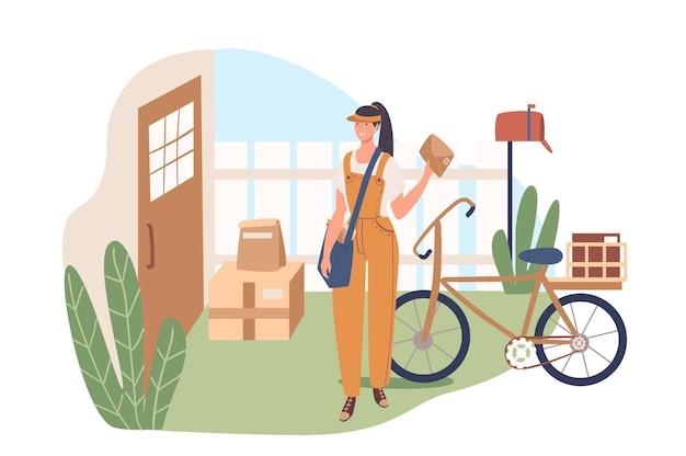 Concetto di web di servizio di consegna. la donna lavora come corriere e consegna lettere e pacchi al cliente a casa. impiegato del servizio postale