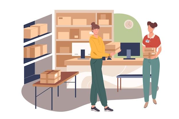 Concetto di web di servizio di consegna. le donne lavorano in magazzino. gli addetti ai servizi postali distribuiscono pacchi, elaborano gli ordini al computer