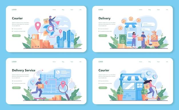 Modello web del servizio di consegna o set di pagine di destinazione. corriere in divisa
