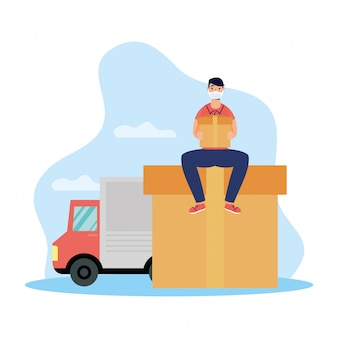 Lavoratore di servizio di consegna che per mezzo della scatola e del camion di sollevamento della maschera