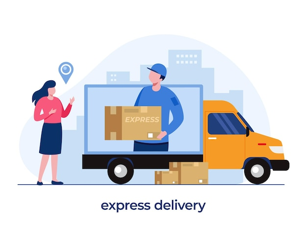 Concetto di servizi di consegna, applicazione di consegna online, fattorino, spedizione, illustrazione piatta vettoriale