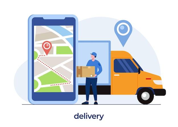 Concetto di servizi di consegna, applicazione di consegna online, ventilatore con pacchetto, spedizione, fattorino, vettore di illustrazione piatta