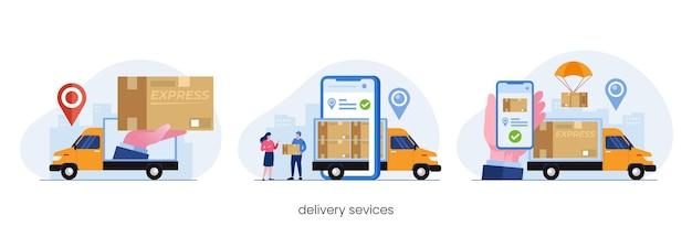 Concetto di servizi di consegna, applicazione di consegna online, vettore di illustrazione piatta