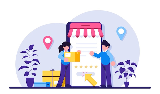 Illustrazione di concetto di acquisto online di servizi di consegna