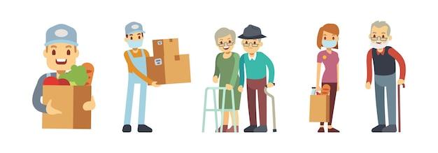 Servizi di consegna. volontariato, corriere alimentare con scatola e confezione. persone che consegnano la spesa. servizio senza contatto, carità o illustrazione vettoriale di aiuto sociale. consegna con corriere con pacco in mascherina