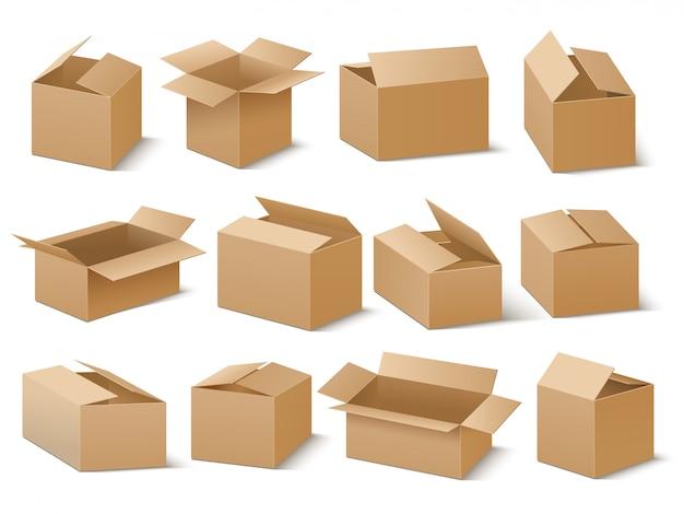 Consegna e spedizione del pacchetto di cartone. insieme di vettore di scatole di cartone marrone