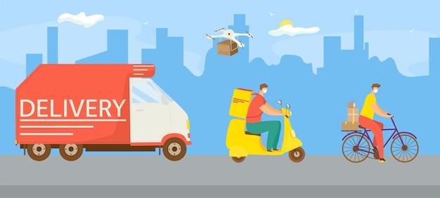 Il carattere dell'operaio del corriere dell'illustrazione di vettore di trasporto di consegna fa il trasporto veloce con lo scooter...