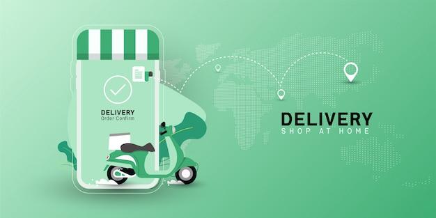 Negozio di consegna a domicilio con trasporto moto su cellulare.
