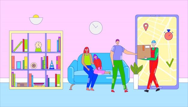 Servizio di applicazione smartphone consegna, illustrazione. scatola porta corriere maschio, consegna pacchi al personaggio del cliente.