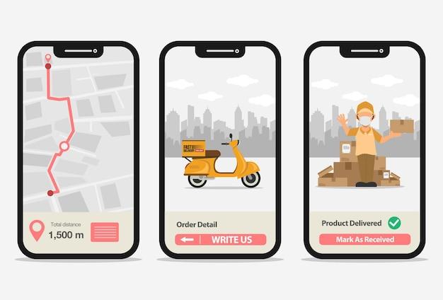 Concetto di smartphone di consegna per illustrazione vettoriale di servizio di pacchetto di consegna veloce