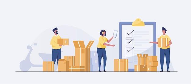 Personale addetto alla consegna che lavora nello stoccaggio logistico piatto isolato. concetto di stazione di carico. illustrazione vettoriale.