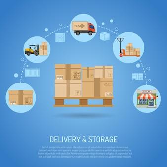 Infografica del concetto di consegna e stoccaggio con pallet icone piatte con scatole e processo di consegna in negozio. illustrazione vettoriale
