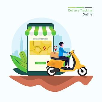 Illustrazione di vettore di concetto online di monitoraggio della consegna.