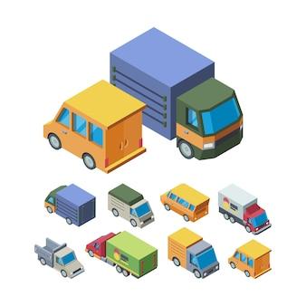 Insieme di illustrazioni isometriche 3d di trasporto di consegna